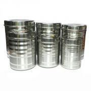 Set Of 6 Stainless Steel Deep Canister / Container