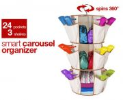Smart Carousel Organiser Shoe Rack Multipurpose 24 Pockets 3 Shelf As Seen