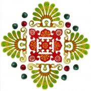 Festive Decor Special Designer Wooden Rangoli With Diyas