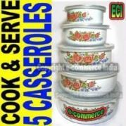 5pcs Casserole Bowls Set Cook, Serve & Store