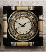 Unravel India Madhubani Painted Wooden Black Wall Clock