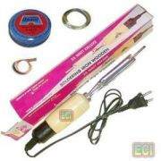Eci - 35w Wooden Handle Soldering Iron Kit, Solder Wire, Paste, D Wick