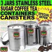 Tea, Sugar, Coffee 3 Jars Steel Canister Container