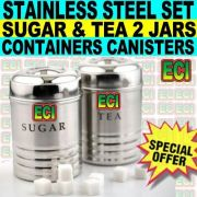 Tea Sugar 2 Jar Stainless Steel Canister Container