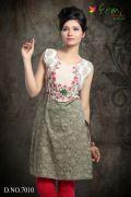 Femi Embroidered Stylish Kurti/Kurta - Khaki Green