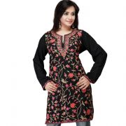 Black Full Work Kashmiri Tunik
