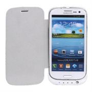 Samsung Galaxy S3 I9300 2200mAh Battery Back Up Flip Cover Case (White)