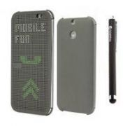 Dotted S View Touch Sensitive Thin Hard Shell Premium Flip Case Cover For Htc One E8-grey With Free Griffin Stylus Pen