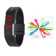 Combo Offer-Snaptic LED Jelly Digital Watch With Flexible USB LED Lamp