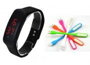 Combo Offer - Snaptic LED Sports Jelly Digital Watch With USB LED Lamp