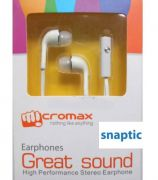 Micromax White In Ear Stereo Headset Earphones With Mic For Canvas Turbo Mini A200