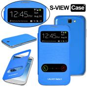 Samsung Galaxy Note 2 N7100 S-View Flip Cover With Screen Guard (Blue)