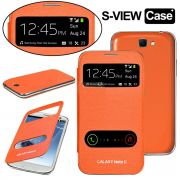 Samsung Galaxy Note 2 N7100 S-View Flip Cover With Screen Guard (Orange)