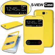 Samsung Galaxy Note 2 N7100 S-View Flip Cover With Screen Guard (Yellow)