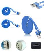 Set Of 2 Hi Grade Noodle Micro USB V8 Data Sync And Charging Cable Blue