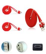 Set Of 2 Hi Grade Noodle Micro USB V8 Data Sync And Charging Cable Red