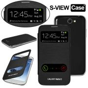 Samsung Galaxy Note 2 N7100 S-View Flip Cover With Screen Guard (Black)