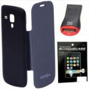 Redchillies Samsung Galaxy 7582 S Duos 2 Black Flip Cover Case With Screen Guard & Micro SD Card Reader