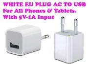 Gadget Heros USB Wall Power Plug Adapter Output 5v-1a, Eu Pin.