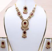 Gold Plated Diamond Stone Studded Jewellery Necklace Earring Set Pendant-72