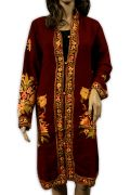 Hand Kashmiri Embroidered Woolen Top Long Kurta Floral Fashion Peach