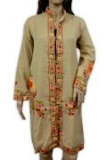 Hand Kashmiri Embroidered Woolen Top Long Kurta Floral Fashion Lite Cream