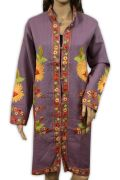Hand Kashmiri Embroidered Woolen Top Long Kurta Floral Fashion Lite Purple