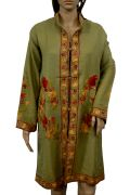 Hand Kashmiri Embroidered Woolen Top Long Kurta Floral Fashion Green