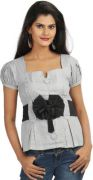 Chic Unique Formal Short Sleeve Striped Women's Top