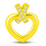 Surat Diamond Ribbon Diamond Heart Pendant In 18k Yellow Gold P1026