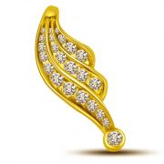 Surat Diamond Leaf Shaped 3 Rows Of Diamond Veins Diamond Pendant P806
