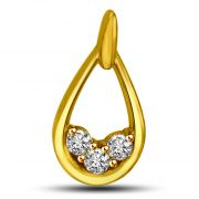 Surat Diamond 0.15 TCW Oval Shaped Diamond Pendant In Yellow Gold P929
