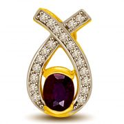 Surat Diamond Oval Sapphire & Diamond Two Tone Gold Pendant For Her P945