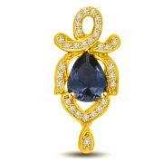 Surat Diamond Diamond & Pear Sapphire 18kt Gold Pendant For Her P961