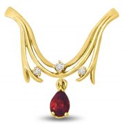 Surat Diamond Center Of Attraction Ruby & Diamond Gold Pendant For Her P963