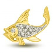 Surat Diamond Gold & Diamond Fish Pendant For My Desire P973