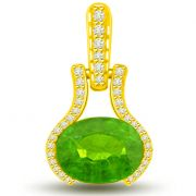 Surat Diamond 1.40 TCW Emerald And Diamond Pendant In Yellow Gold -  P1137