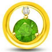 Surat Diamond Endearing Diamond And Emerald Pendant In Yellow Gold -  P1147