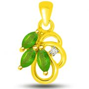 Surat Diamond Stunning Emerald And Diamond Pendant In Yellow Gold -  P1162