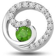 Surat Diamond 0.37 TCW Emerald And Diamond Pendant In White Gold -  P1173