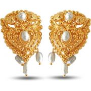 Surat Diamond Temple Shaped Pearl And Metal Gold Plated Earrings  SE64