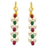Surat Diamond - Ruby & Emerald Beads & Rice Pearl Earrings - SE124
