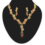Surat Diamond - Red & Green Coloured Stone With Gold Plated Necklace Earring Set -PS131
