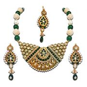 Surat Diamond - Green Jadtar & Pearl Bridal Jewellery Set -PS153