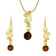 Surat Diamond - Trendy Tiger Eye Ball & Gold Plated Pendant & Earring Set.- Sds156