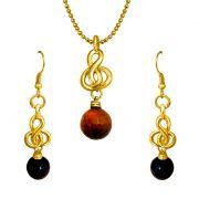 Surat Diamond - Elegant Tiger Eye Ball & Gold Plated Pendant & Earring Set- Sds157