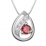 Surat Diamond Bowl Of Fun - Red Ruby, Real Diamond & Sterling Silver Pendant With 18 Inch Chain