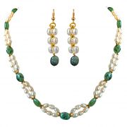 Surat Diamond Real Natural Oval Emerald, Rice Pearl & Gold Plated Beads Necklace & Earring Set SN681
