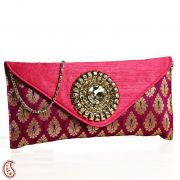 Pink Raw Silk Patchwork Clutch With Metal Detailing