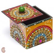 Wood And Clay Utility Box With Hand Painted Work